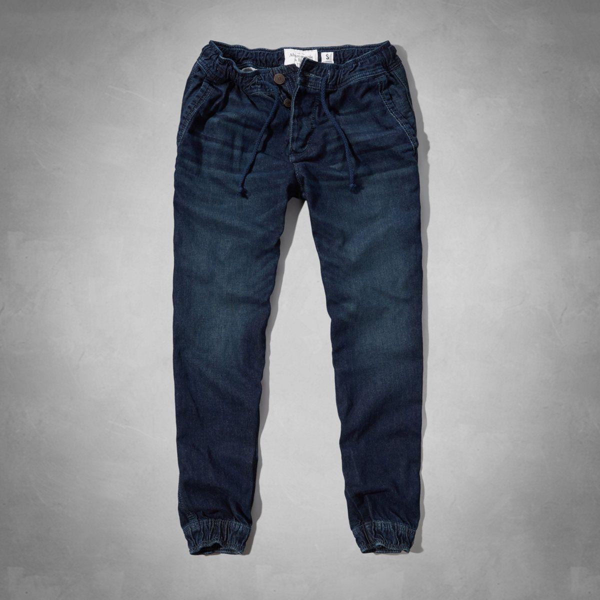 Mens A&F Denim Joggers | Mens Jeans | Abercrombie.co.uk