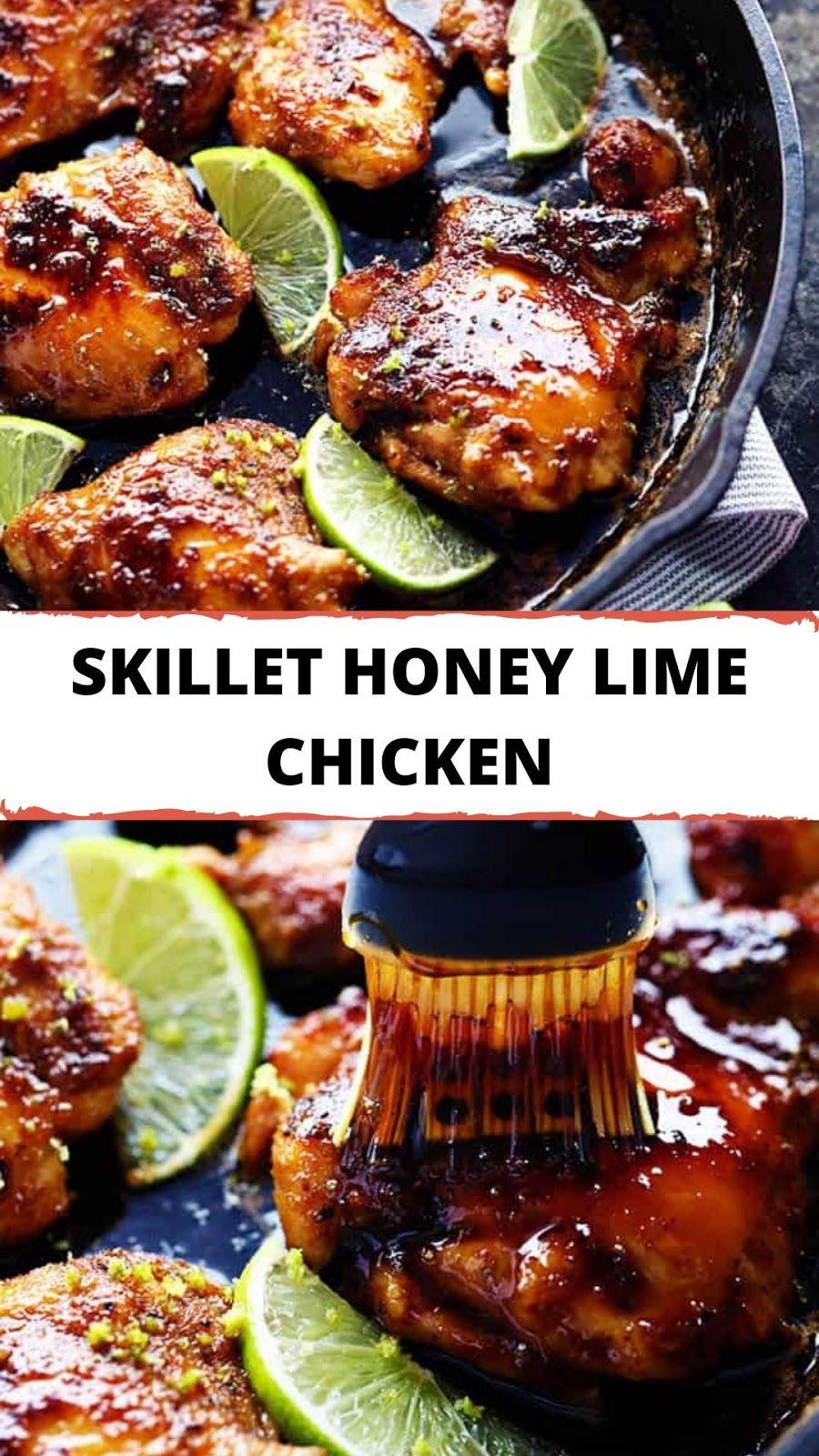 SKILLET HONEY LIME CHICKEN #skinless #chicken #thighs #skillet #soy #sauce