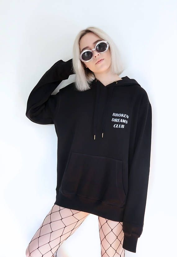 1bd12c0dae53 Broken Dreams Club Reflective Hoodie Black Tumblr Inspired Aesthetic Anti  Social Pale Pastel Grunge