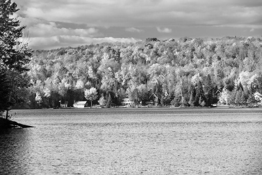 Beautiful b/w photo of a lake in Adirondacks in autumn from AlanTonnesen.com
