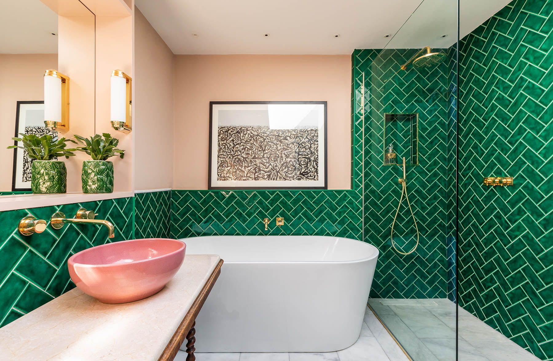 Guest Bathroom Emerald Green Metro Tiles Plaster Pink
