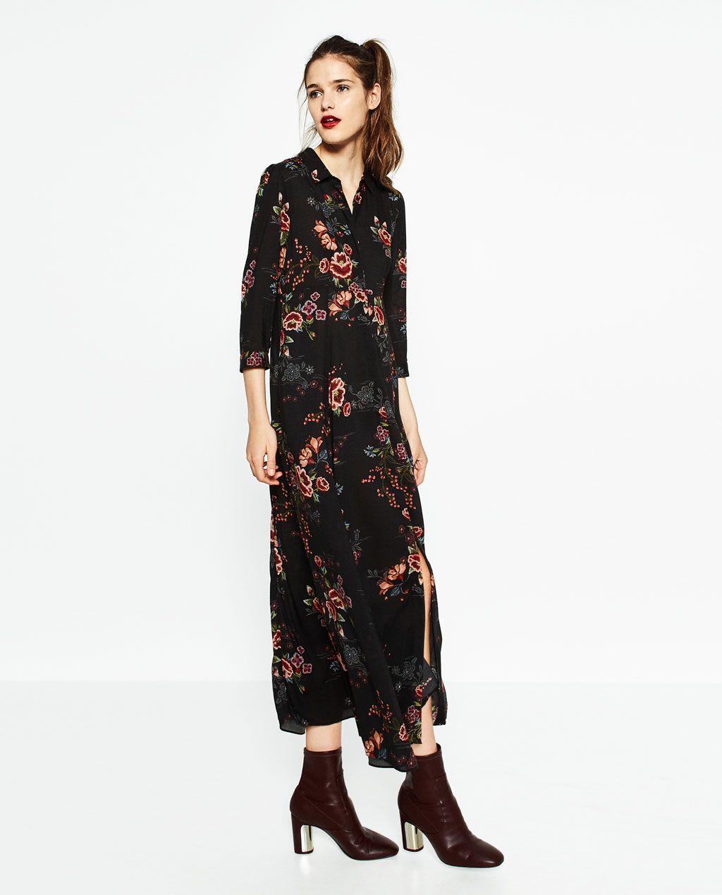 long printed dress-dresses-woman | zara united states