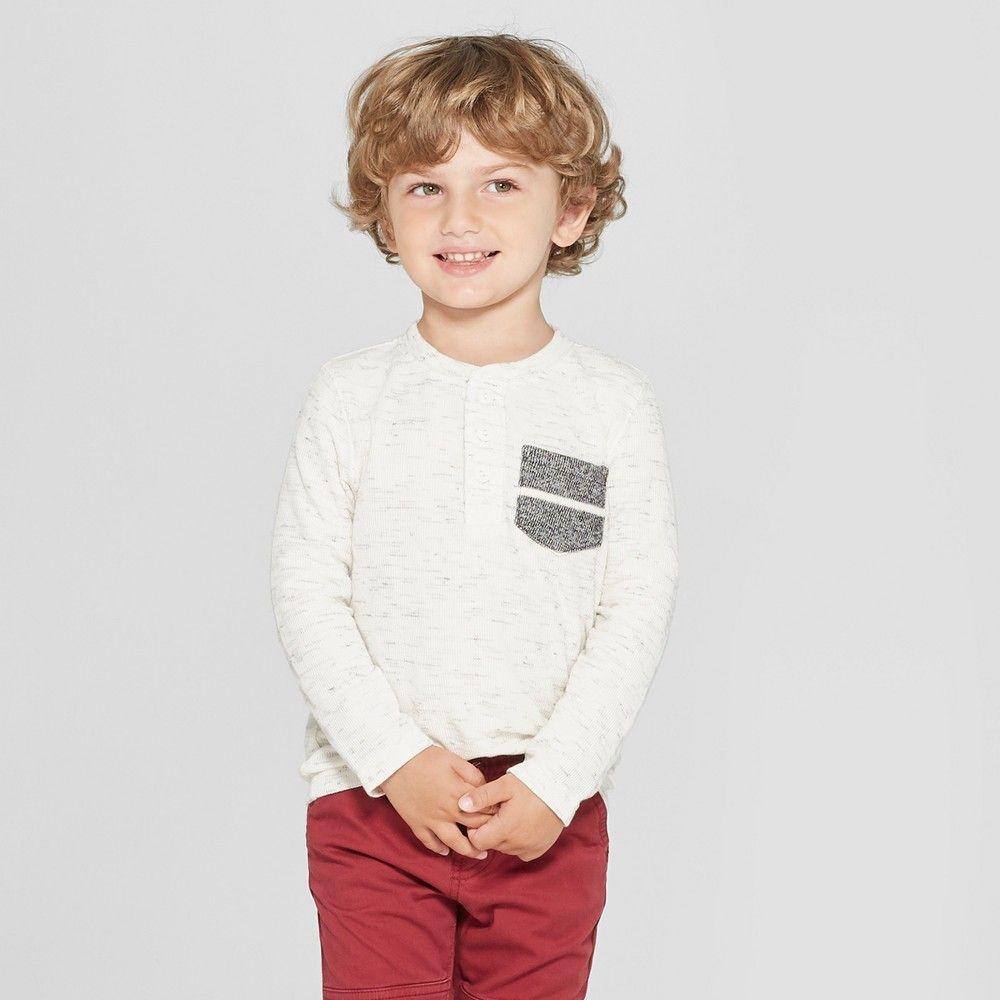 552338952dea Toddler Boys  Long Sleeve Henley Shirt - Cat   Jack Cream (Ivory ...