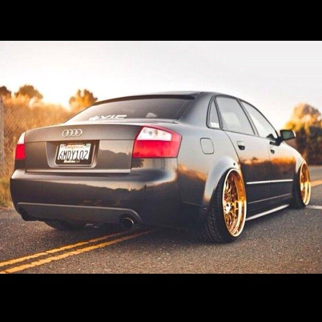 Grey Car With Gold Rims Wheels. Audi A4 Stance Hella Flush