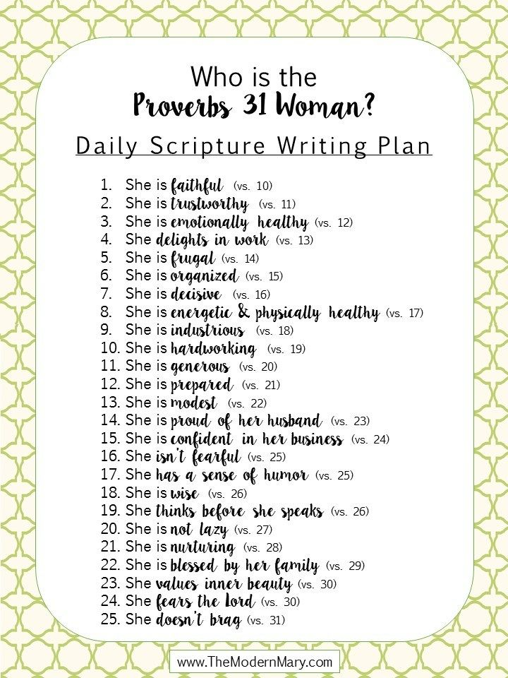 Scripture Writing Plan for the [modern] Proverbs 31 Woman – The Modern Mary