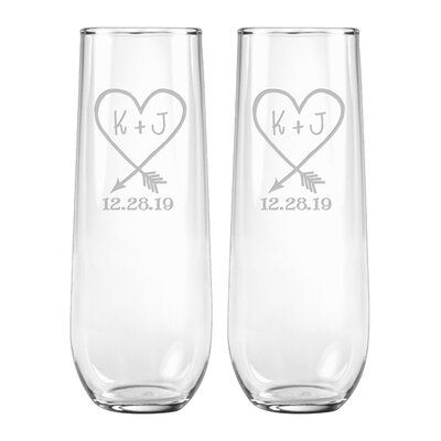 Le Prise Personalized Carved Heart Date 9 Oz Glass Flute Wayfair In 2020 Flute Glass Carved Heart Glass Engraving