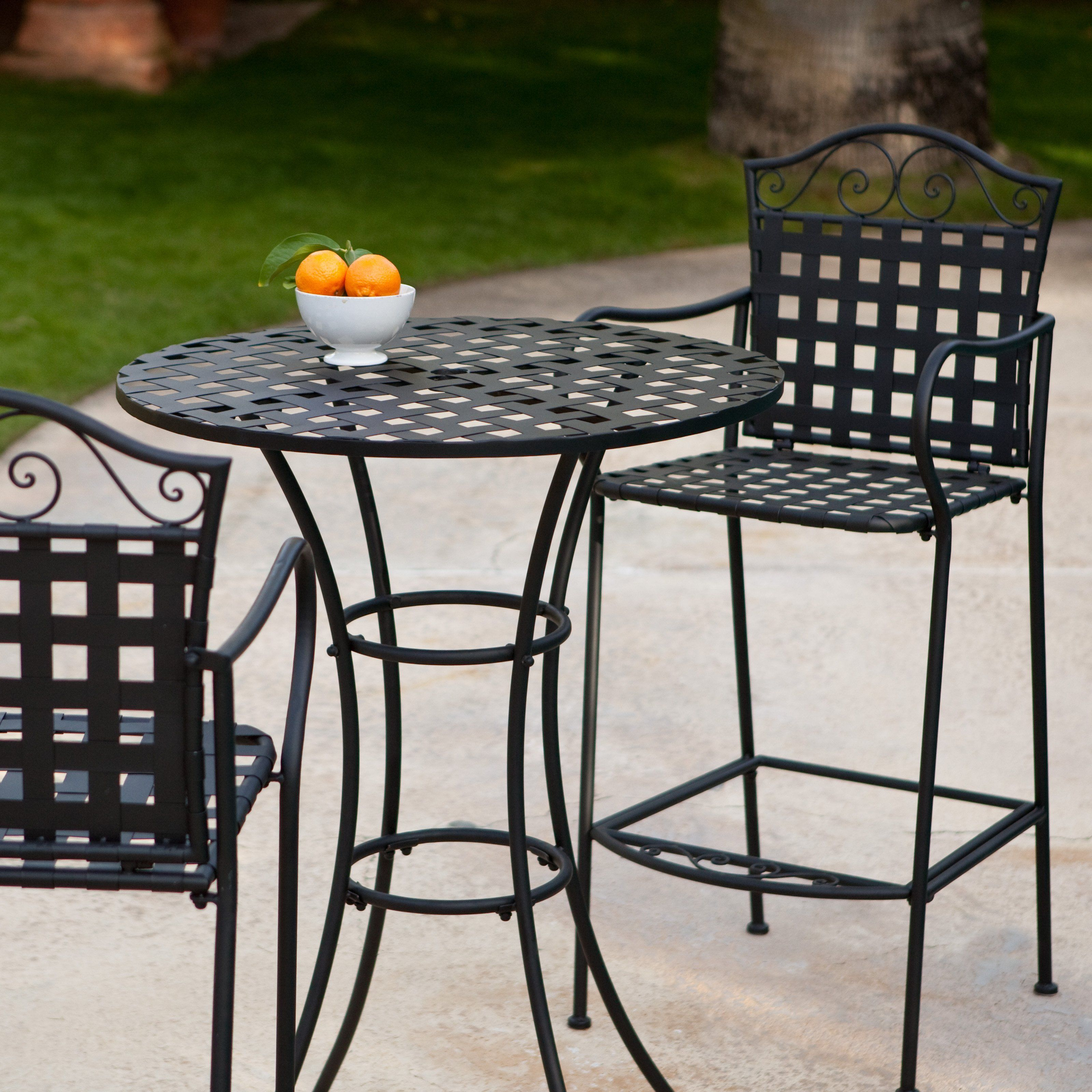 On My Deck Right Now Looks Great Indoors Too Capri Woven Wrought Iron Bar Height Bistro Set 249 99