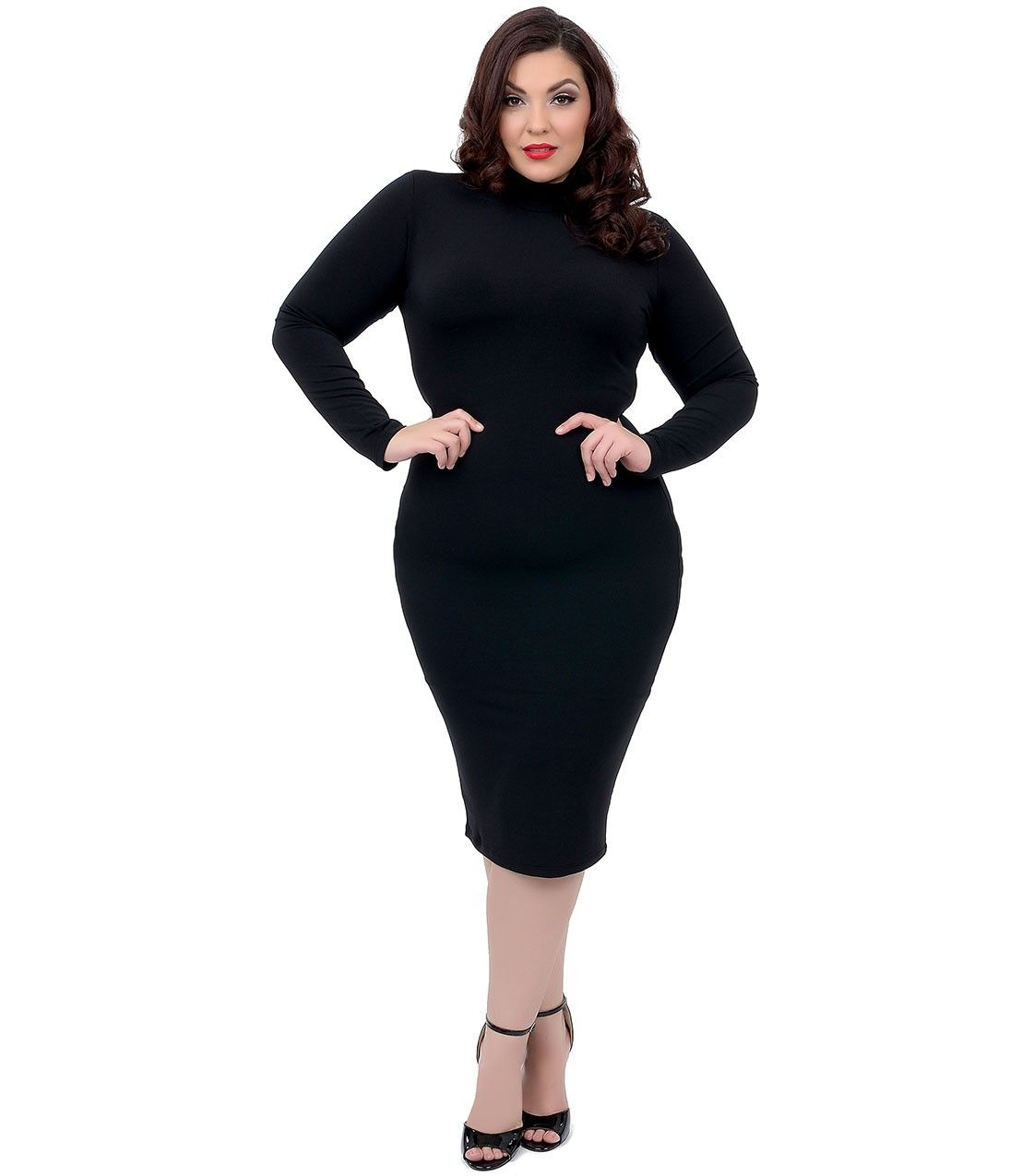 plus size 1960s style black long sleeve fitted mod wiggle dress