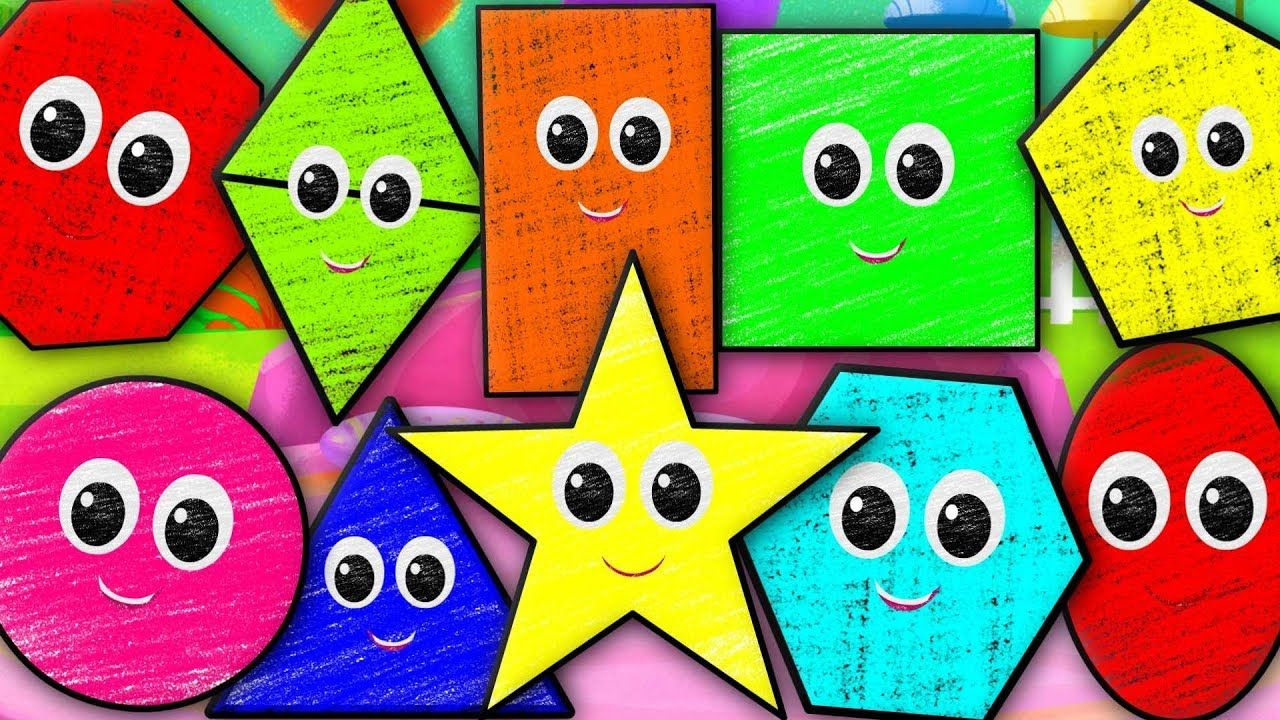 Ten Little Shapes | Shapes Song | Crayons Nursery Rhymes Songs For ...