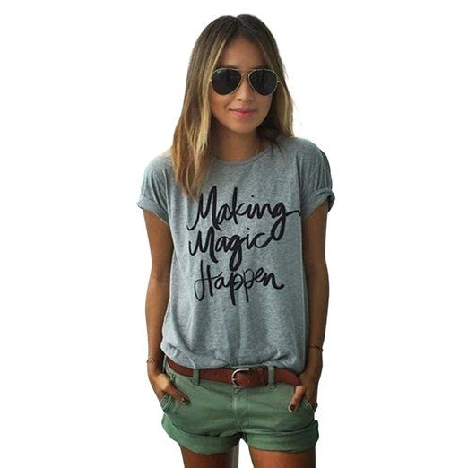 Yantu Damen girl Rundhals Top Sunmmer weich T-Shirt Oversize Funny Crew Neck Print Sweatshirt (XL)