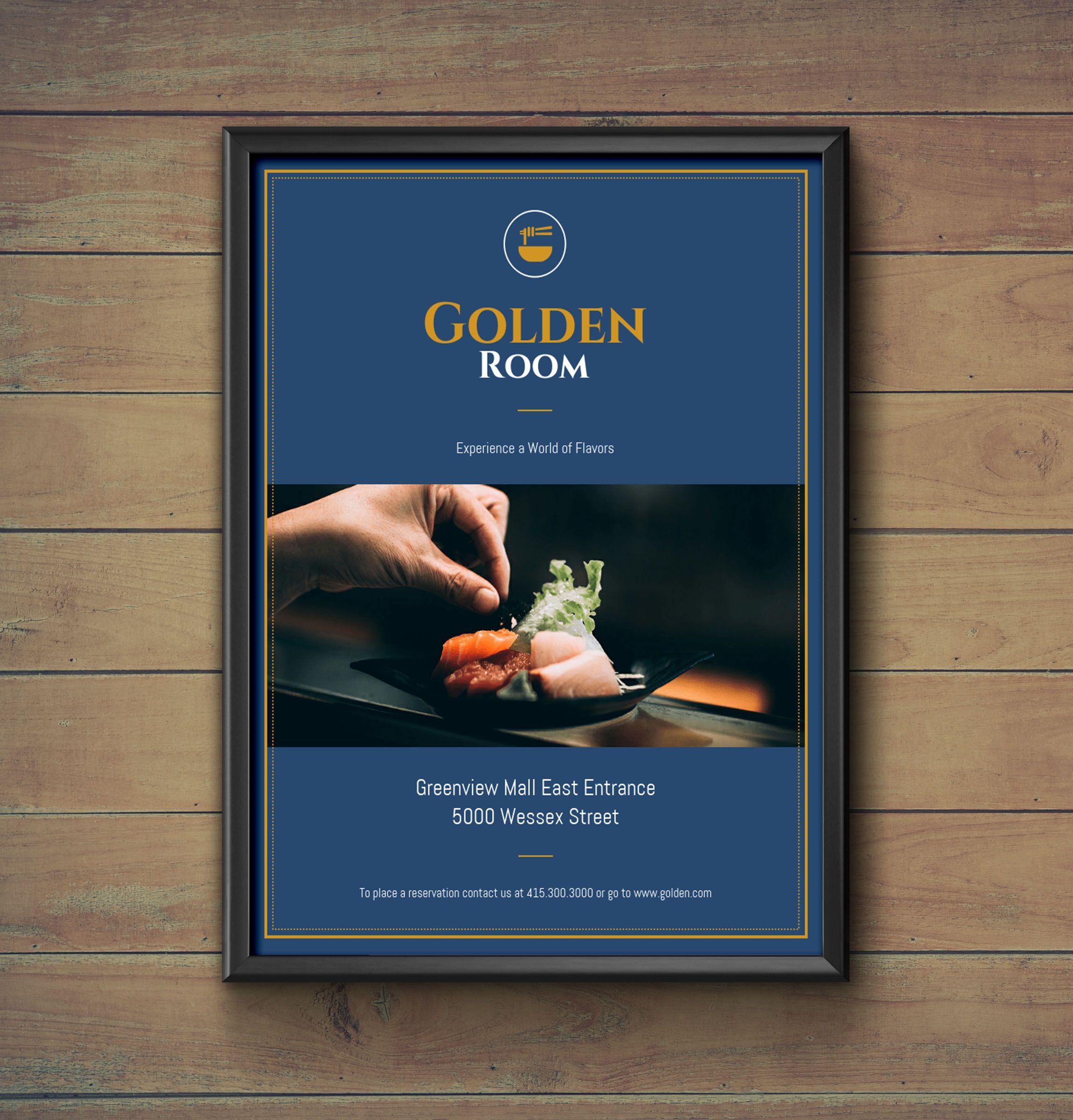 dark blue gold fancy restaurant flyer idea venngage flyer