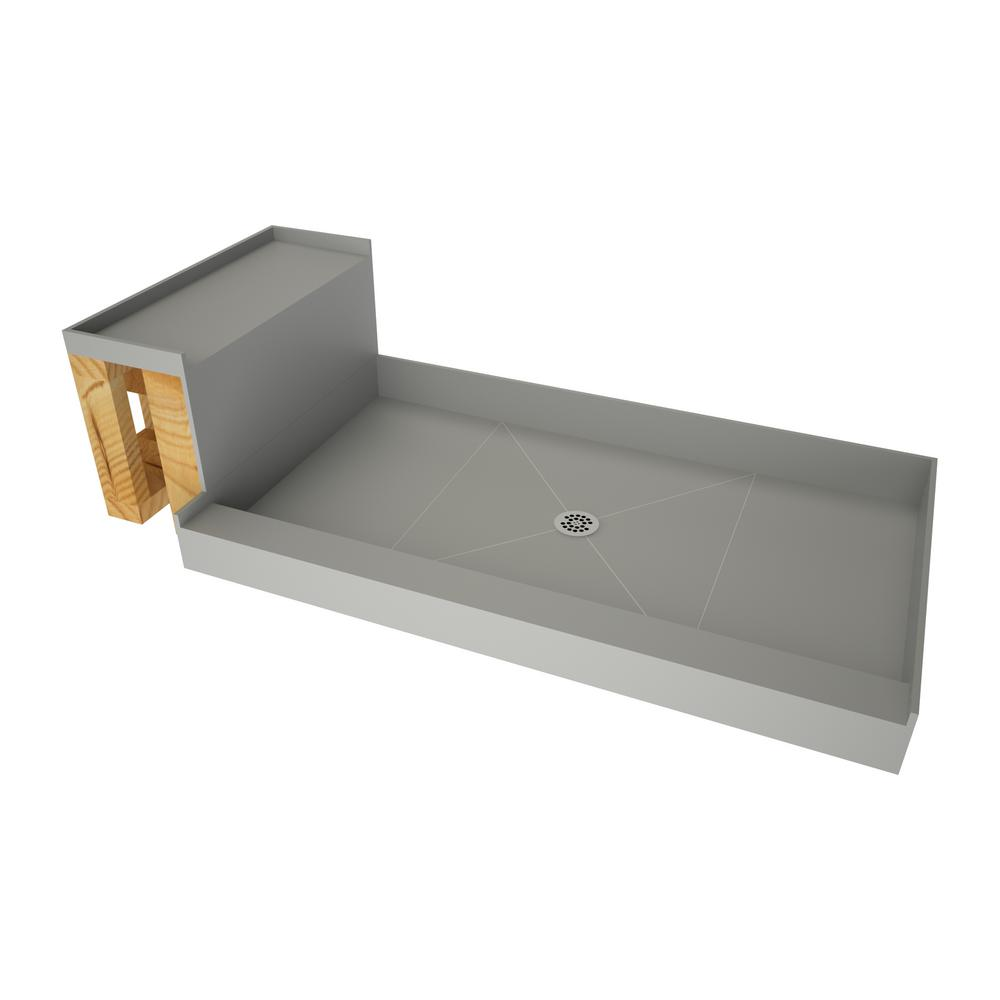 Tile Redi 30 In X 60 In Single Threshold Shower Base In Grey And