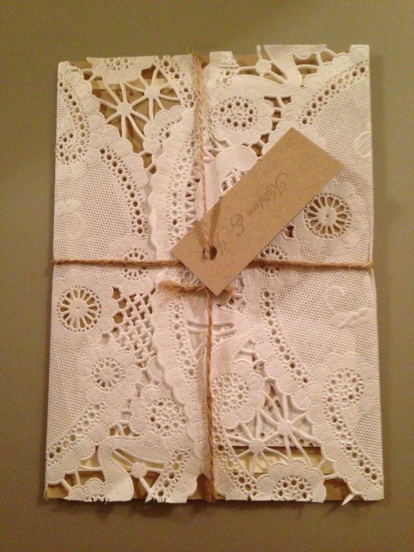 "12"" doily wrapped invitation Paper Doilies, Wedding Stationary, Wedding Invitations, Creative Ideas"