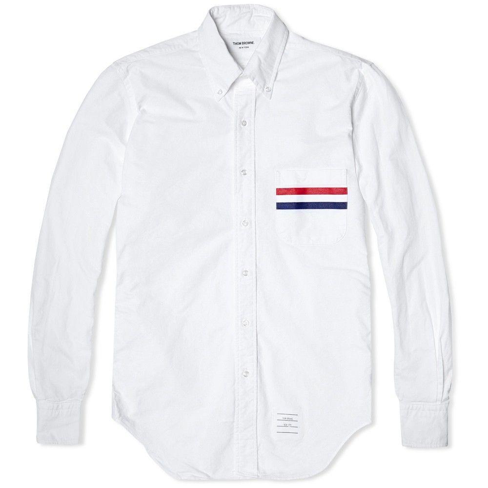 Thom Browne, Stripe Pocket Classic Oxford Shirt (White)