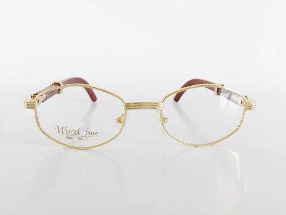 Men Cartier Style Eyeglasses, Gold Frame Brown Wood Glasses ...