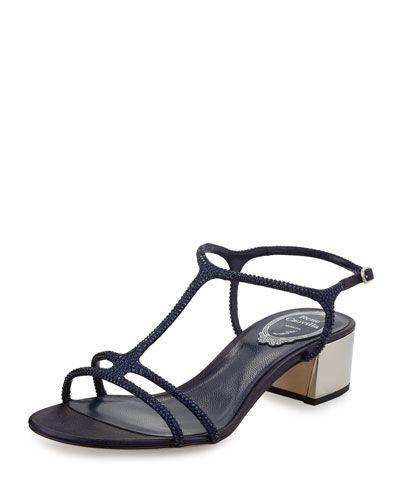 9b05dc3ba51 S0CM2 Rene Caovilla Crystal-Embellished T-Strap Block-Heel Sandal ...