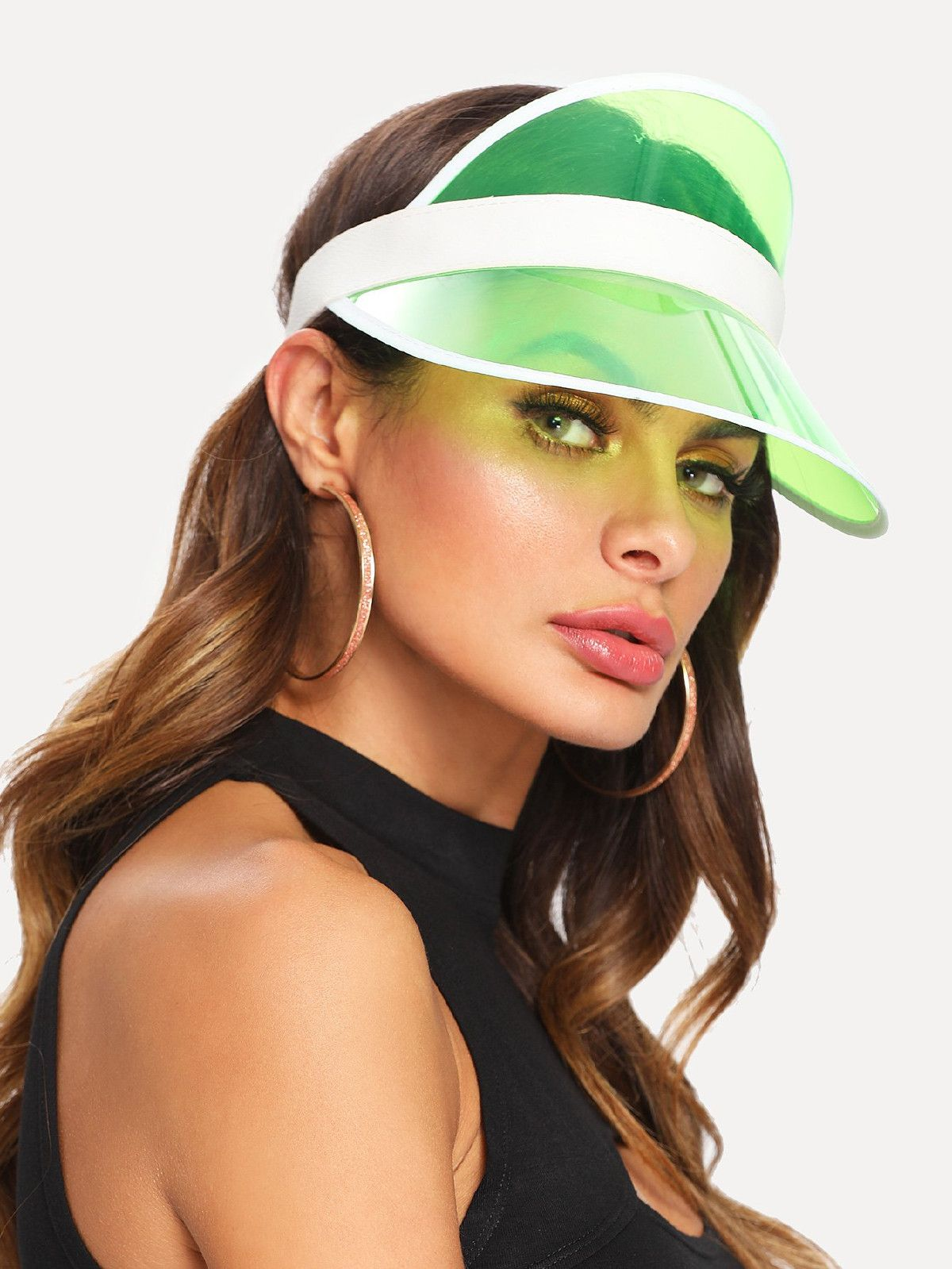 Clear brim visor hat visor outfit outfits with hats