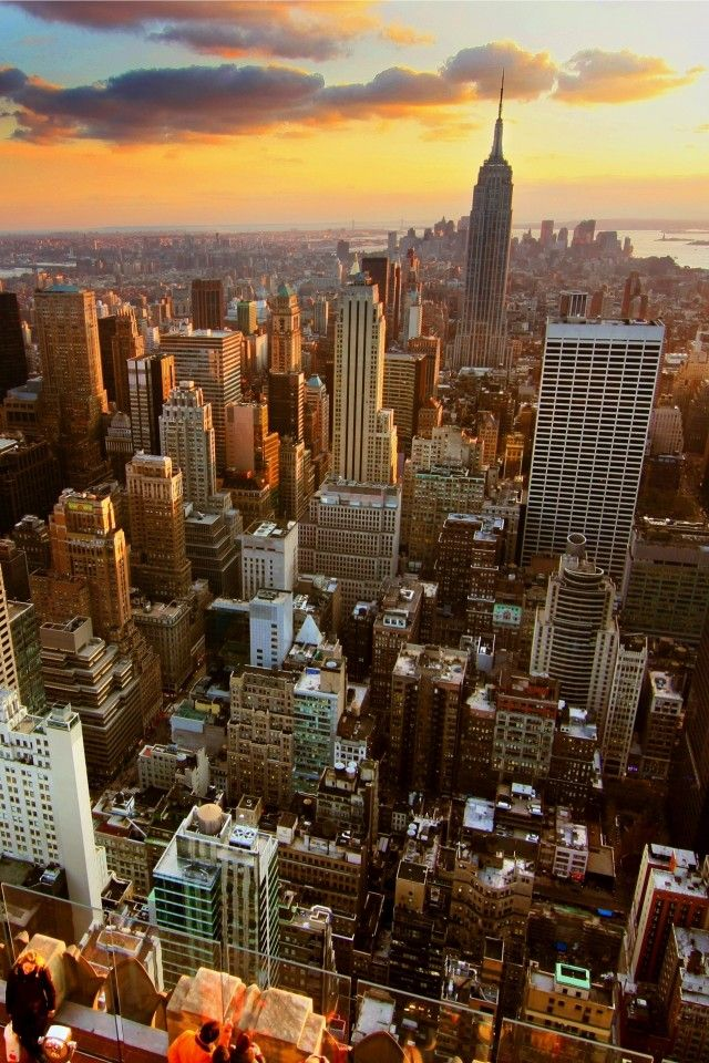 New York Skyscrapers Rooftop Sunset New York Wallpaper York Wallpaper New York Iphone Wallpaper