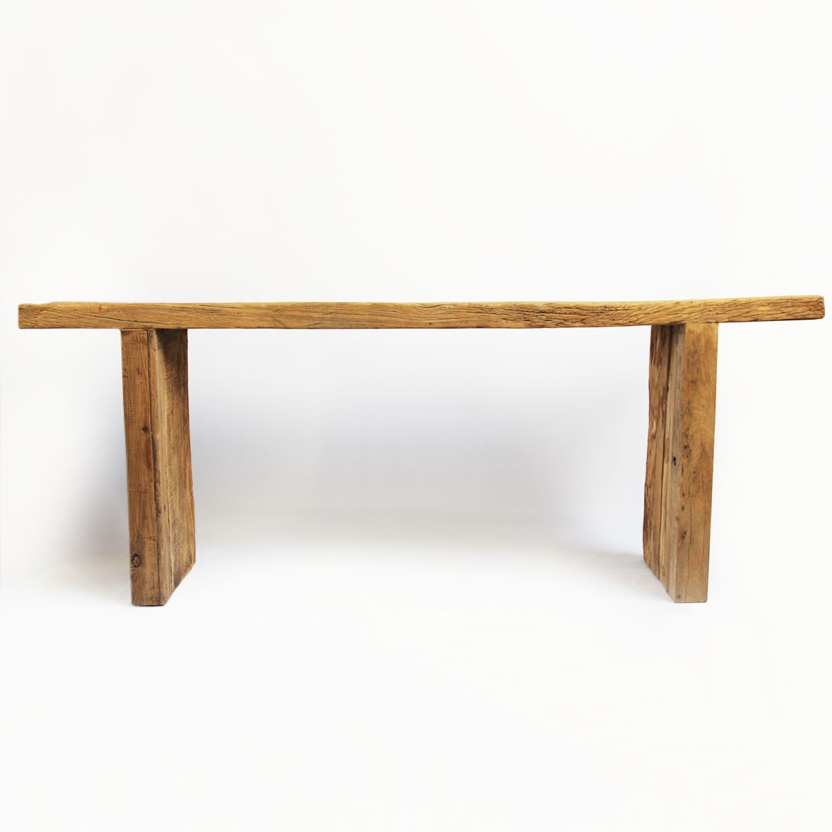 Delicieux Rustic Aged Elm Plank Wood Console Table With A Raw Wood Finish.