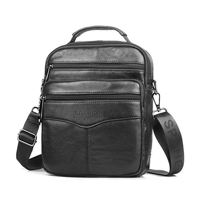 bb618c1f1184 SPAHER Men Leather Handbag Shoulder Bag IPAD Business Messenger Backpack  Crossbody Casual Tote Sling Travel Bag