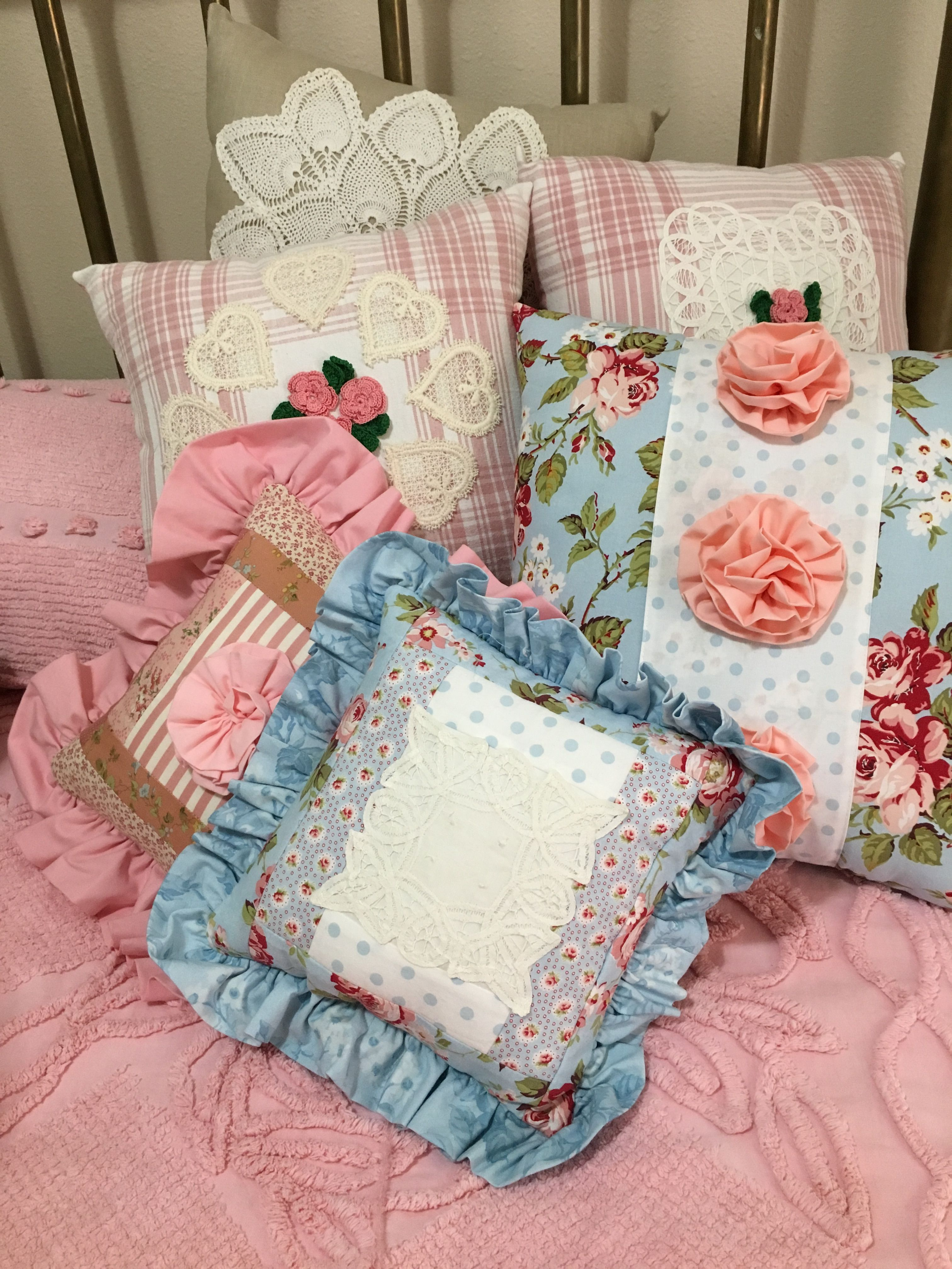 Pillows featuring some recycled linens. Contact me for