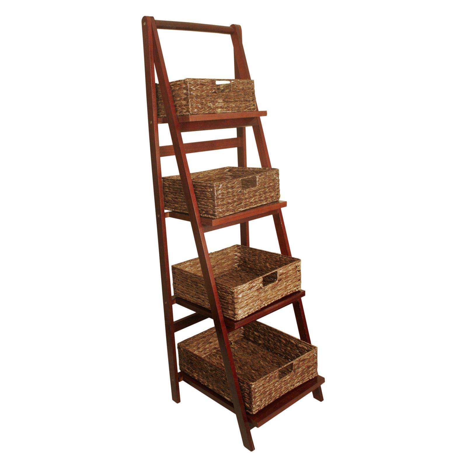Wald Import Ladder Shelf With Storage Baskets Wall Ladders