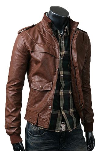 Men's Brown Leather Bomber Jacket, Blue Long Sleeve Shirt, Navy ...
