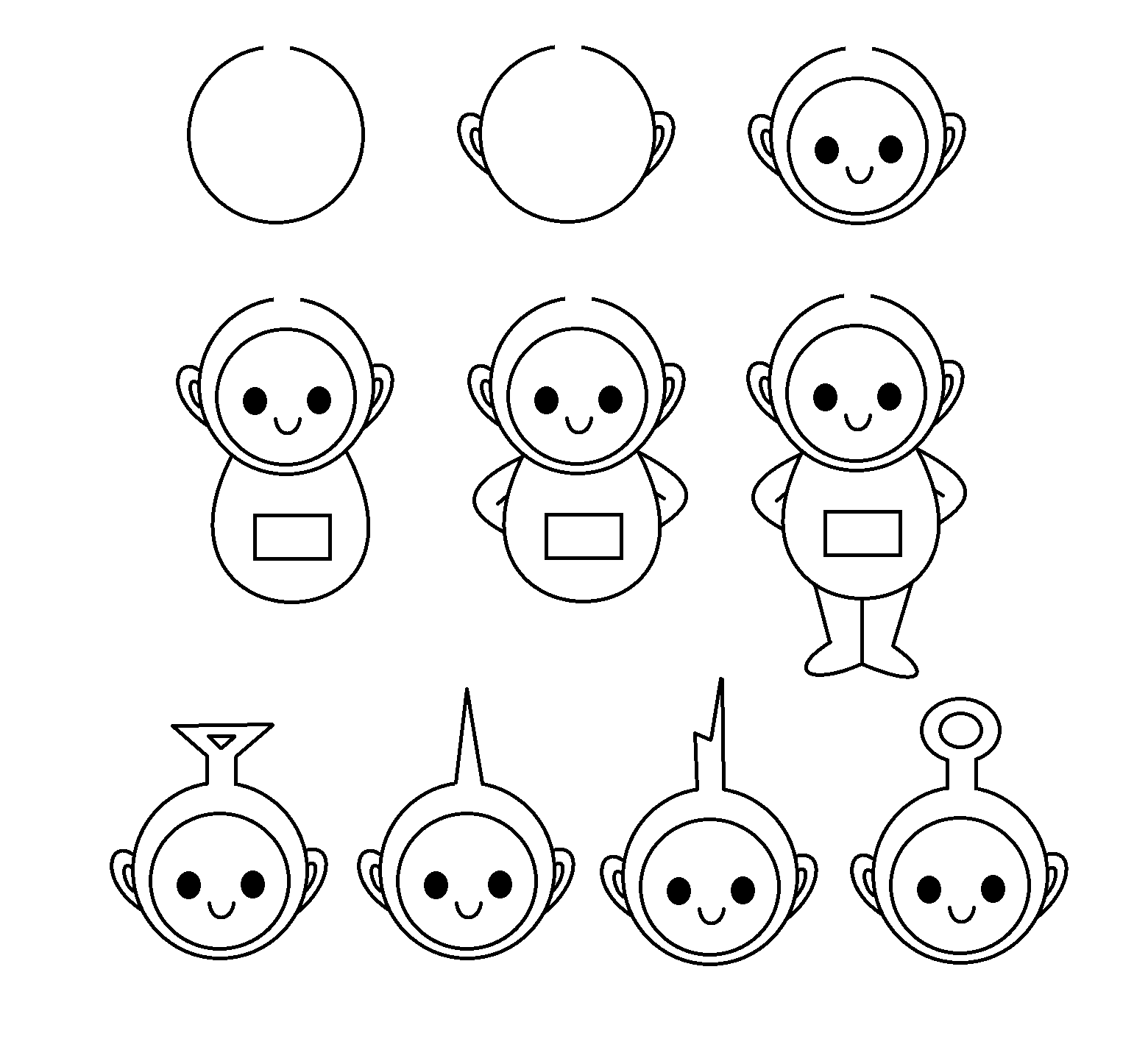 Step By Step Drawing Tutorial For Teletubbies Basic Drawing