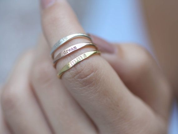 Skinny Stackable Name Ring - Personalized Custom Name Ring - Sterling Silver Stacking Ring - Custom Name - Names Ring