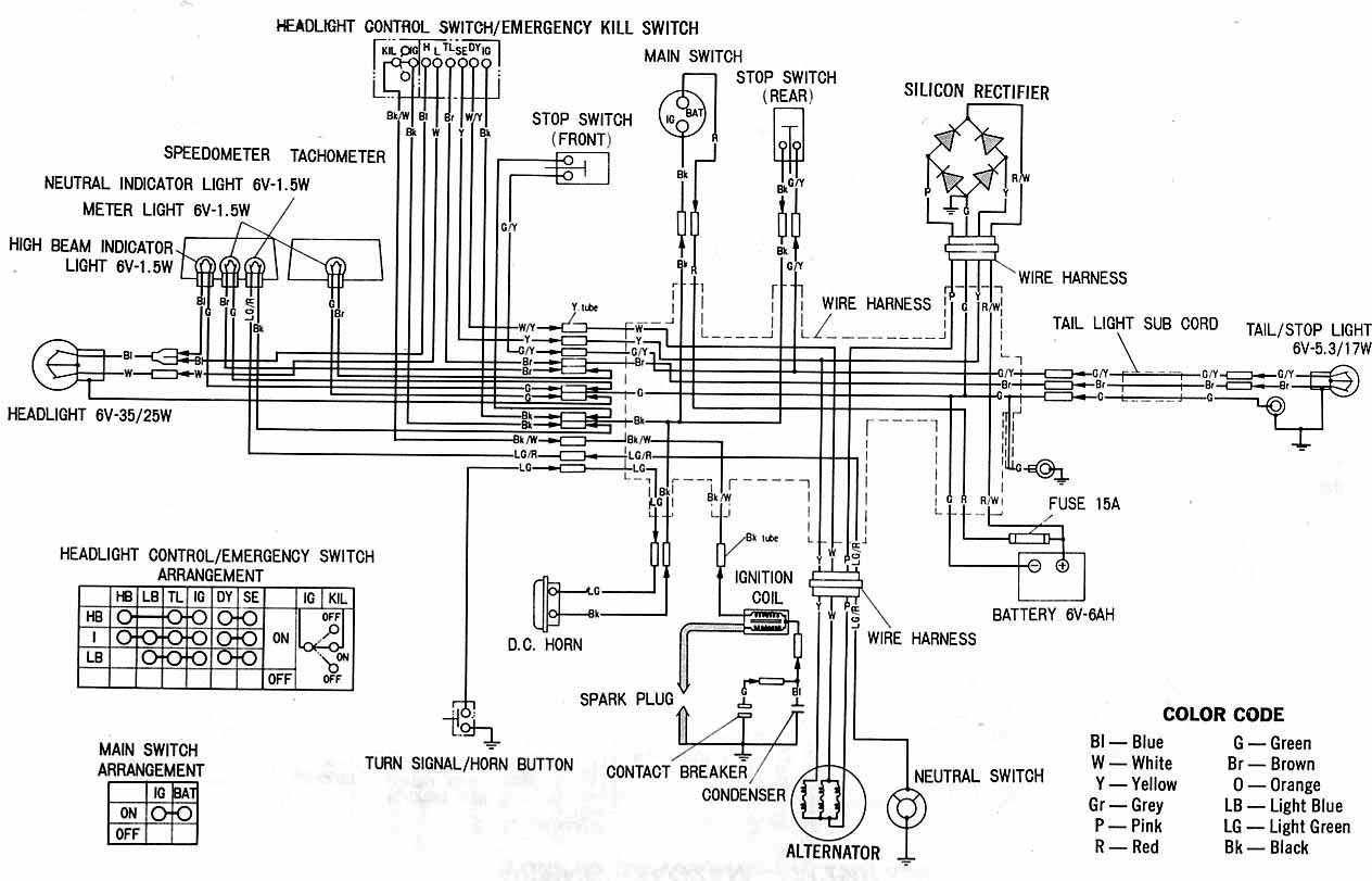 wiring color codes for dc circuits | ... XL100 Motorcycle ... on