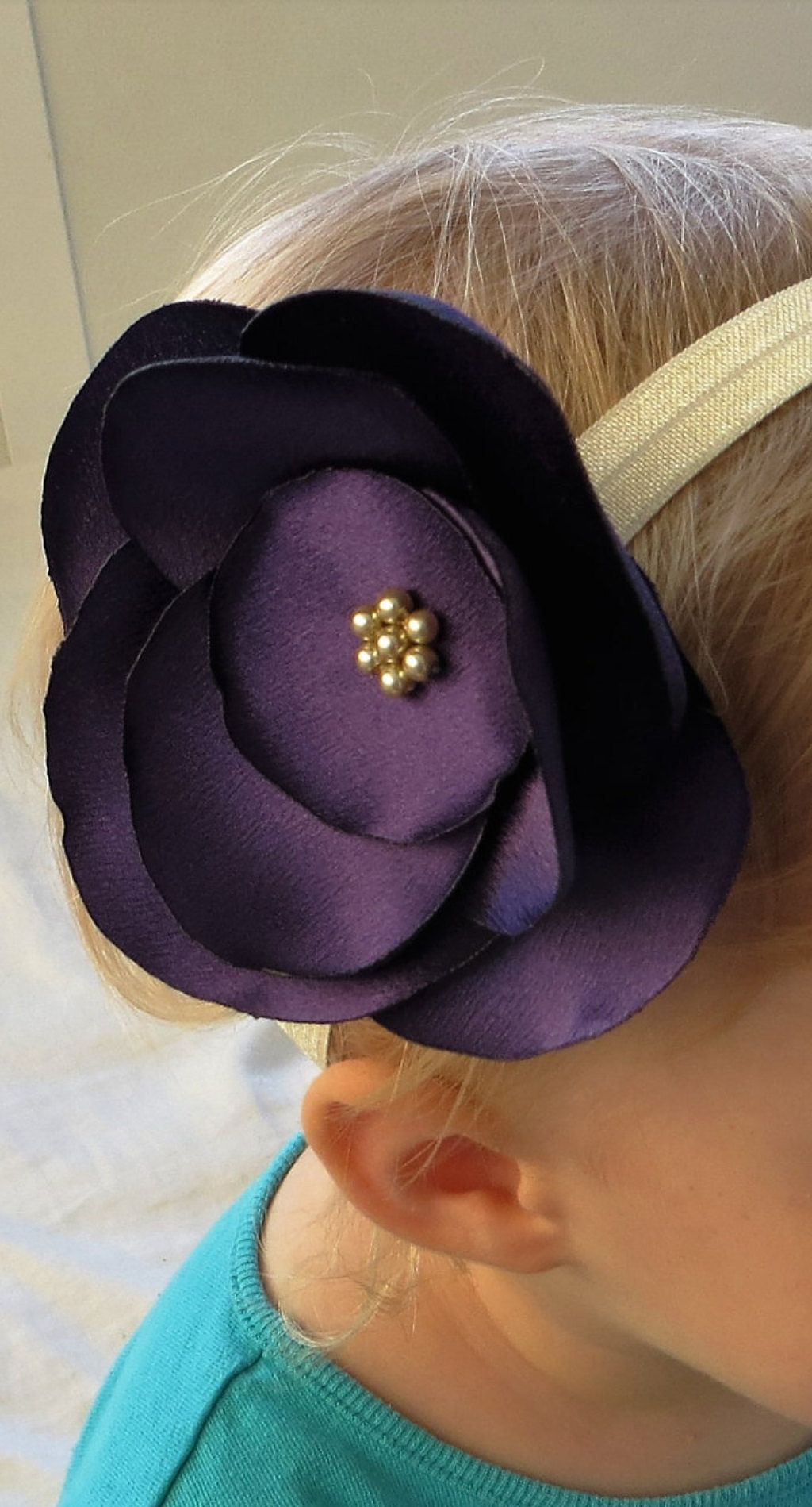 Baby girl flower headband purple flower headband baby girl
