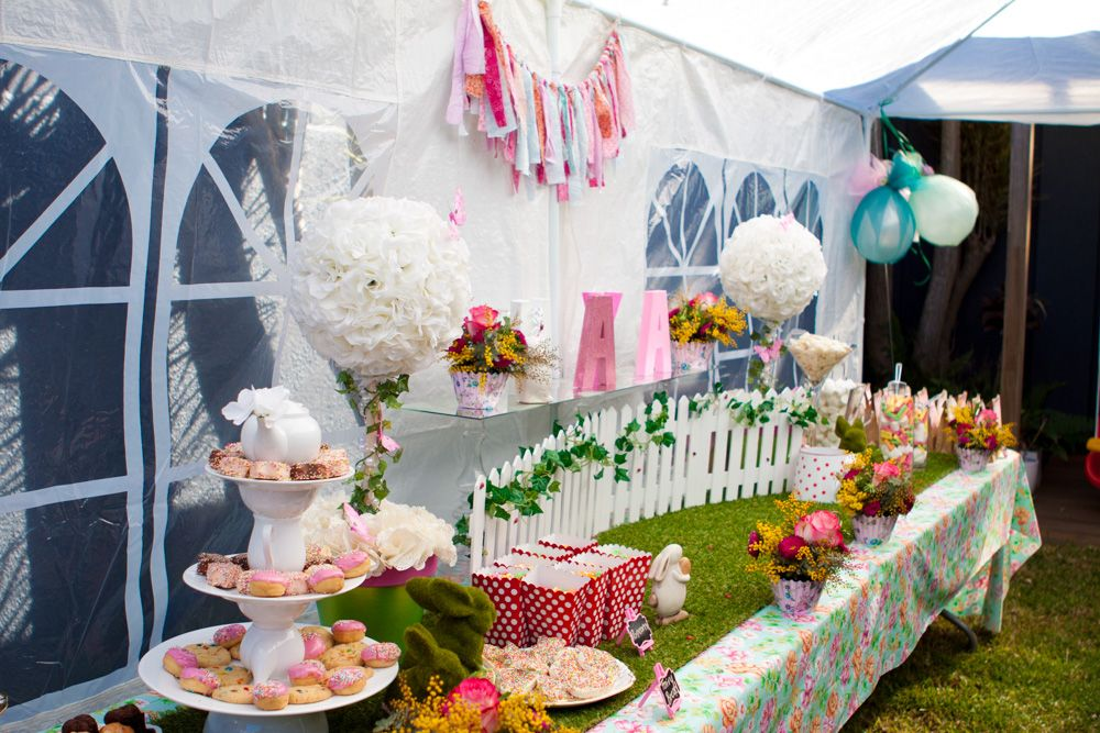 Garden Party Table Setting Cake Dessert Lolly Bar For My Daughter Mayas First Birthday