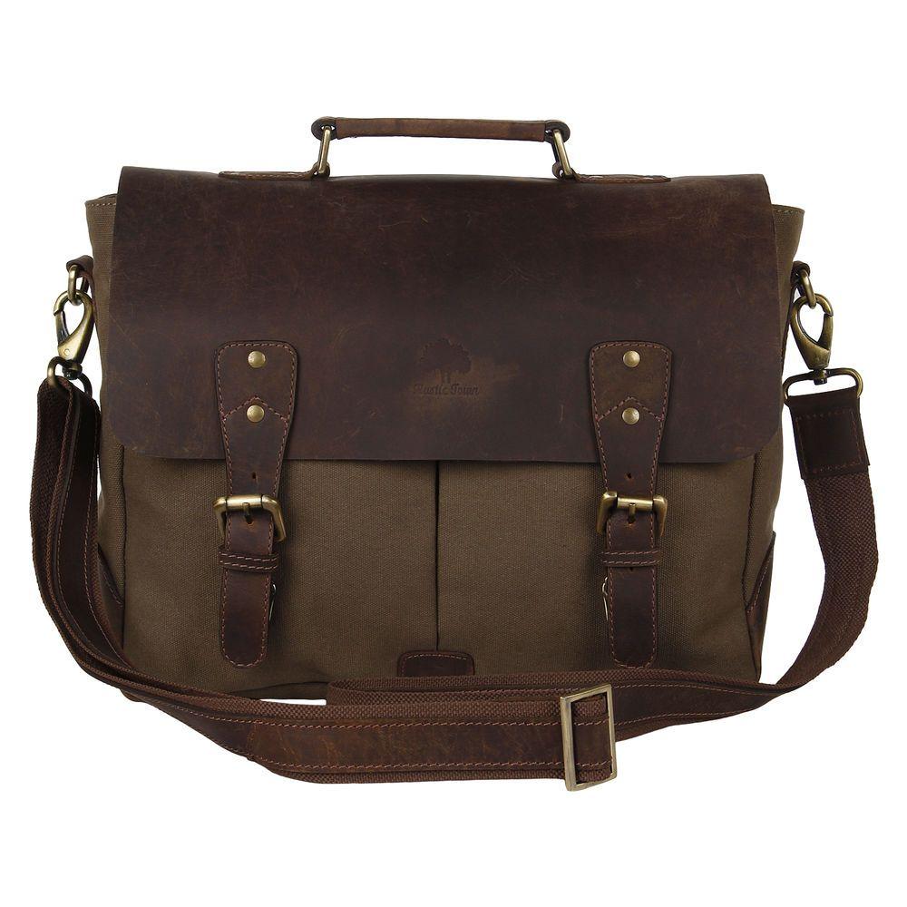 """Womens Canvas Leather 15"""" Laptop Briefcase Messenger Office College Shoulder Bag #MessengerShoulderBag"""