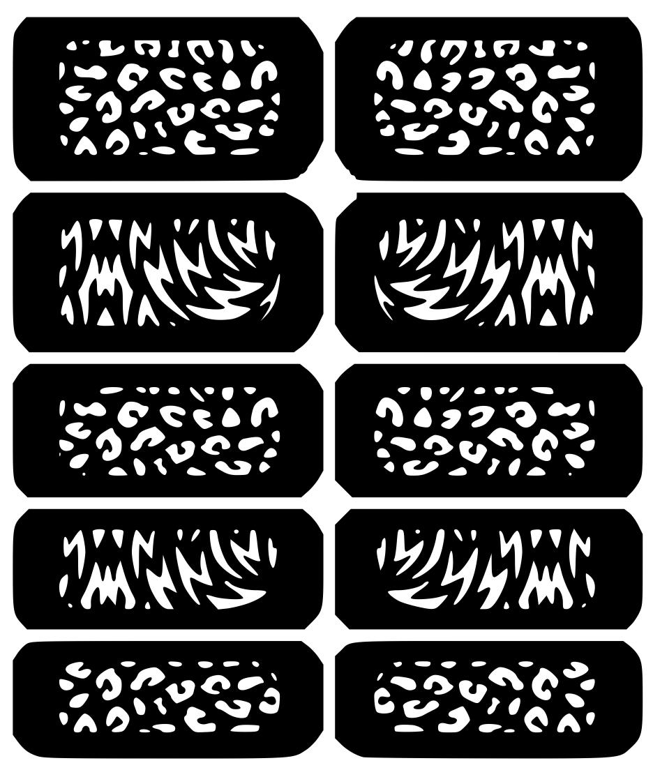 Safari Print Nail Art Vinyl Decal Sticker Stencil Vinyl