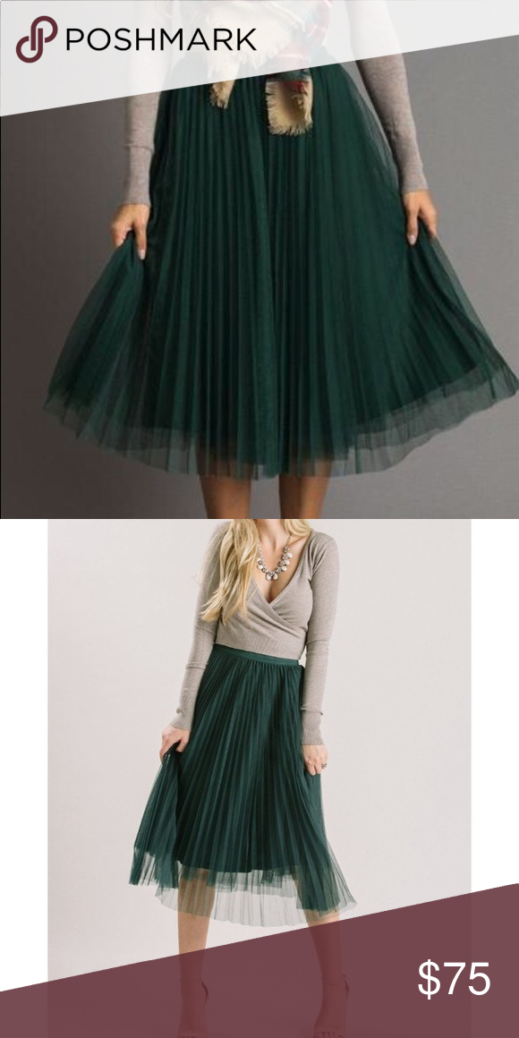 ab3c031ee Morning Lavender Green Tulle Midi Skirt Brand new! Size: small Morning  Lavender Skirts Midi