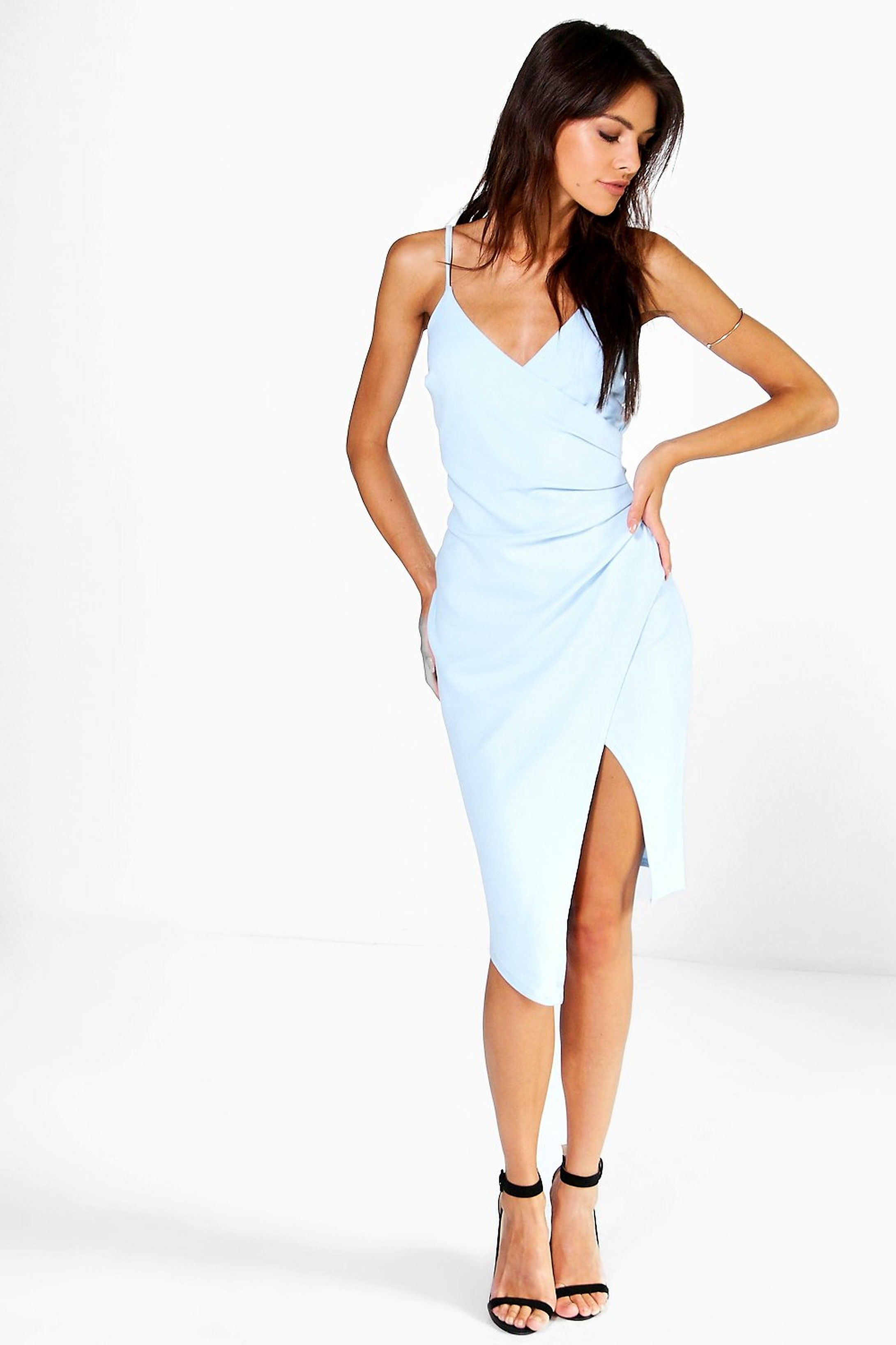 Strappy Wrap Pleated Bodycon Midi Dress Boohoo Midi Dress Bodycon Dresses Bodycon Fashion [ 3272 x 2181 Pixel ]