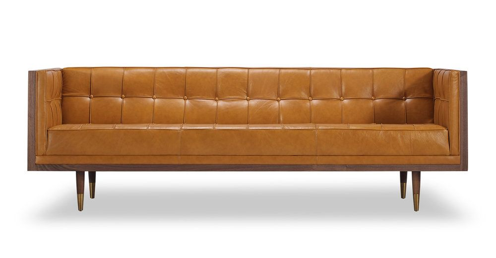 Woodrow Box 87 Leather Sofa Walnut Tan Aniline Love Seat Leather Couch Leather Sofa