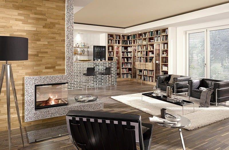 Wandpaneele Holz Mit Eiche Rustikal Holzverkleidung Für Innen. Einfach Eine Holzwand  Bauen Für Wohnzimmer Und