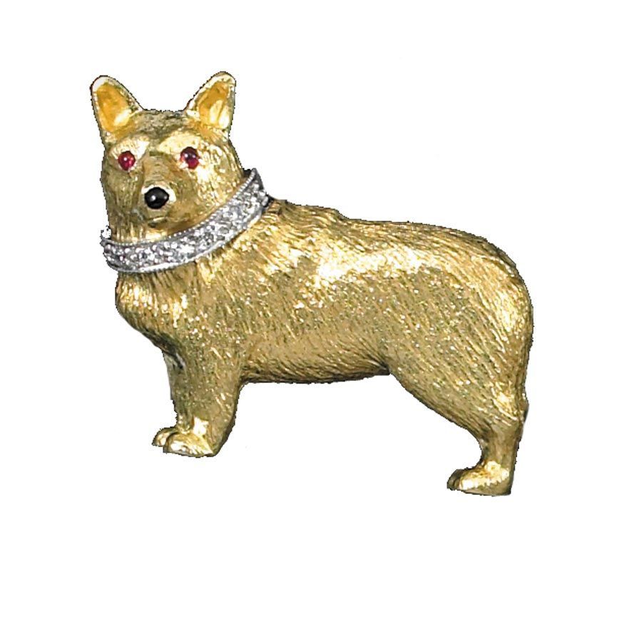 Corgi Pin 18k Ruby Eyes Onyx Nose | Pins & Brooches | Jewelry | ScullyandScully.com