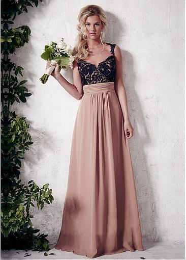 Elegant Chiffon & Lace Queen Anne Neckline Full-length A-line Bridesmaid Dress