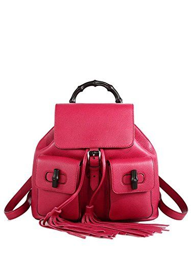 a909160fdd45 Gucci Bamboo Leather Backpack 370833 5529. Gucci Bamboo Dark Pink Leather  Backpack for Women ...