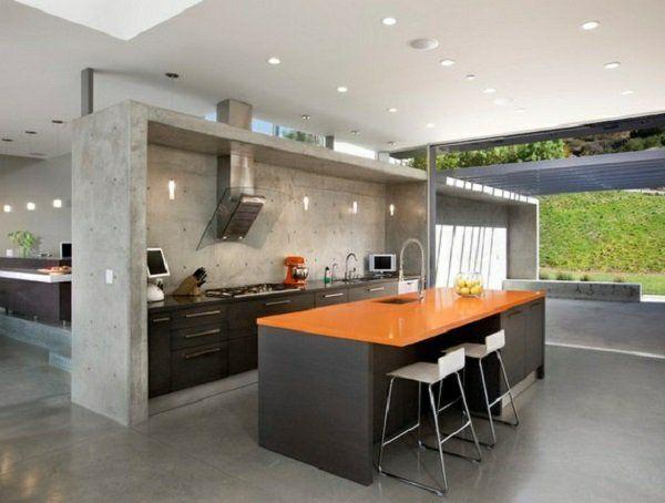 kochinsel wandgestaltung küche Wandfarbe mit Betonoptik - wandgestaltung in der küche