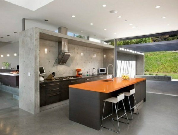 kochinsel wandgestaltung küche Wandfarbe mit Betonoptik - wandgestaltung kche farbe