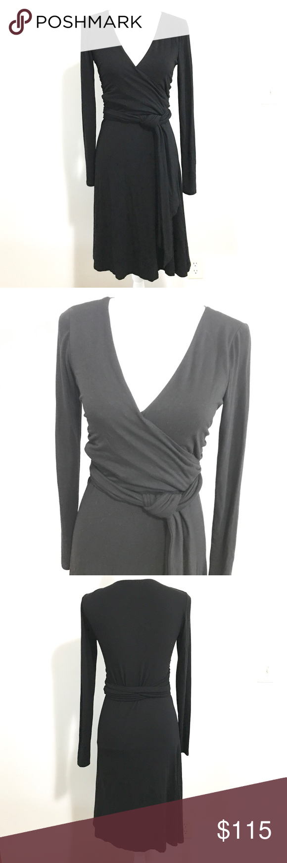 Ralph lauren vneck long sleeve black wrap dress wrap dresses and flaws