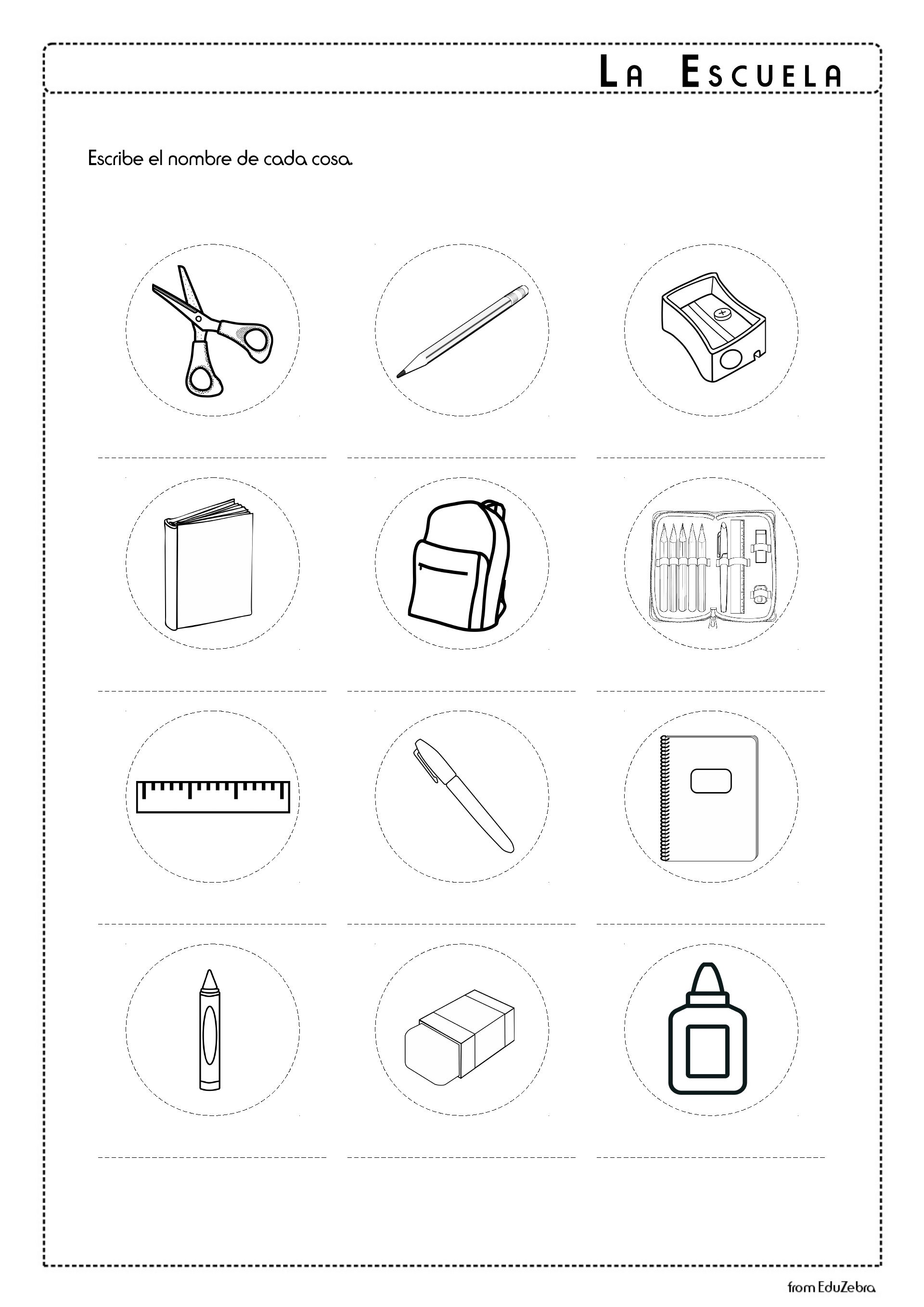 Printables Of School Supplies Worksheet In Spanish