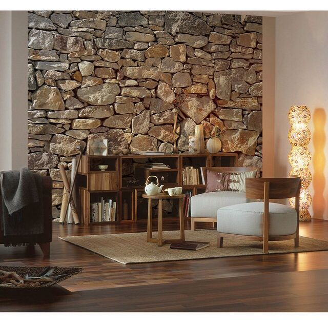 cozy ideas interior stone walls. Wall paper idea for living room  Warm and cozy Ideas the