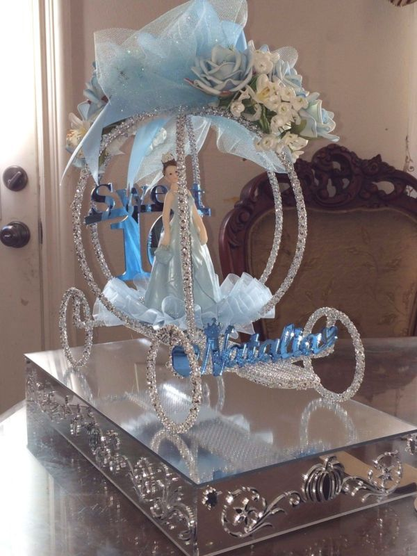 Sweet 16 Cinderella Carriage Centerpiece Decorated