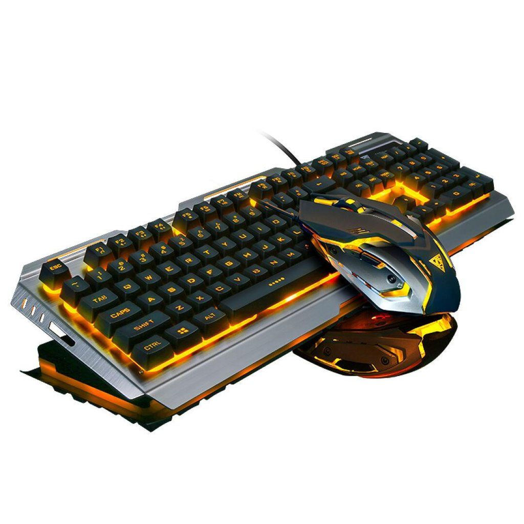 77690b81cf3 Wired Backlit illuminated Gaming Keyboard Optical Pro Gamer Mouse ...