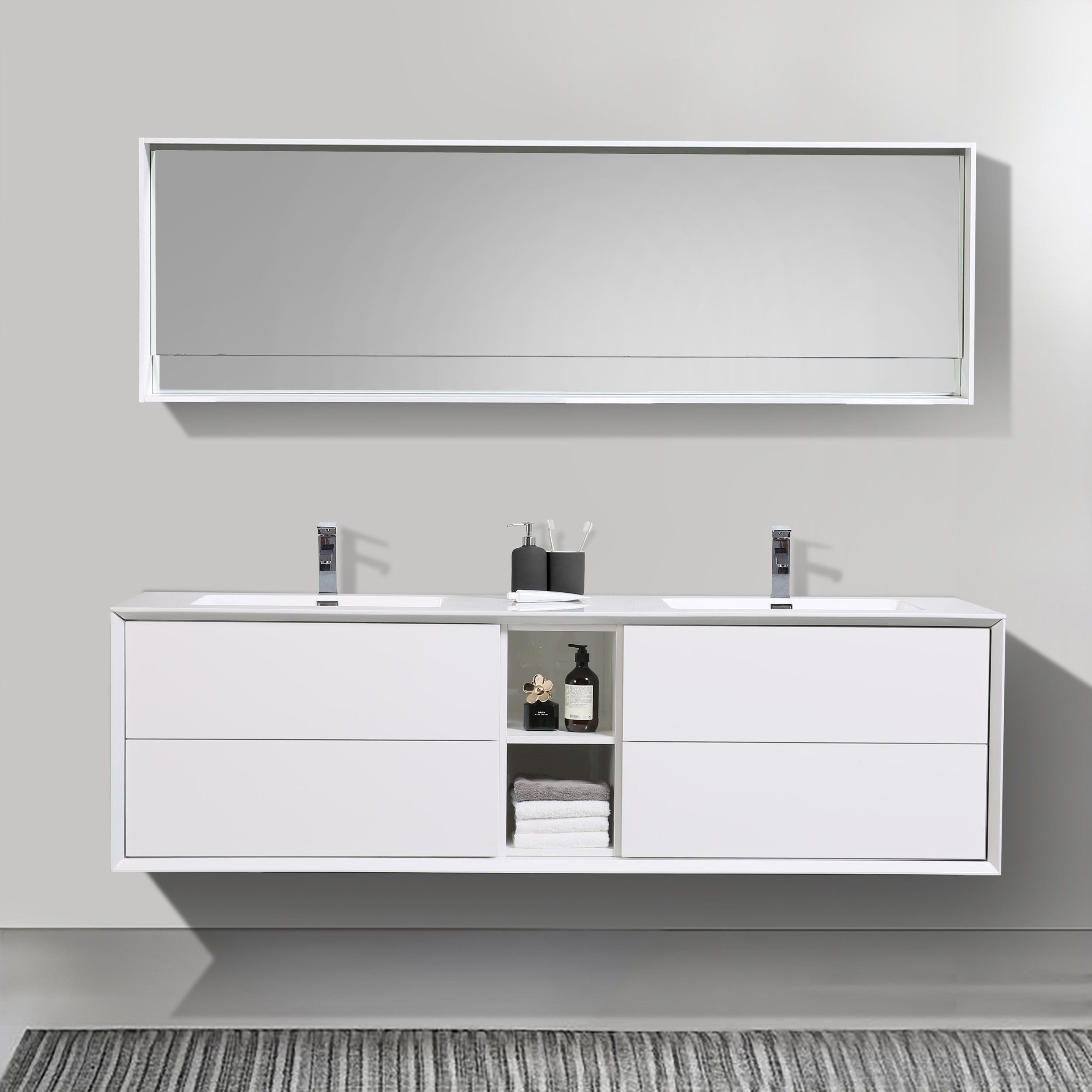 Contemporary Gloss White Vanity Set 75 Save Money When You Buy A Set Of 3 Compare Gray Bathroom Accessories Green Bathroom Accessories Light Green Bathrooms