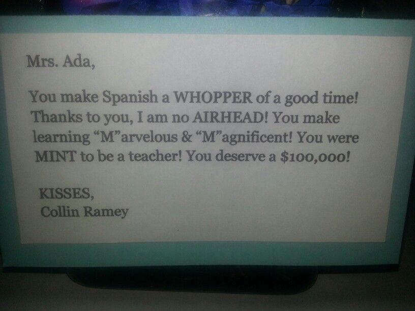 Letter for spanish teacher teacher appreciation gifts pinterest letter for spanish teacher spiritdancerdesigns Gallery